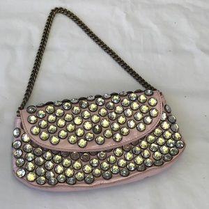 Betsey Johnson pink large clear Rhinestone clutch